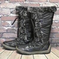 Womens Black Winter Fleece Lined Lace Up Low Heel Winter Boots UK 5 EUR 38