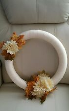 FALL WREATH~HARVEST TIME~FALL LEAVES~BEIGE~NEW