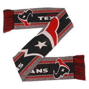 Houston Texans Gray Scarf Knit Winter Neck - Double Sided Big Team Logo Grey