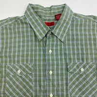 Izod Button Up Shirt Men's 2XL XXL Short Sleeve Green Plaid Casual 100% Cotton