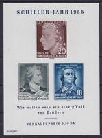 DDR Block 12 ** IV, Plattenfehler, Schiller Jahr 1955, postfrisch, MNH