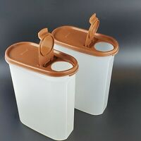 VTG Tupperware Brown Pour Lids 9¾ CUP (2.3 LITER) Modular Mates 1614-2 Set OF 2