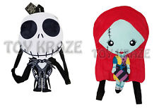 NIGHTMARE BEFORE CHRISTMAS FLAT PLUSH BACKPACK! JACK & SALLY SOFT BAG NWT [2 PC]