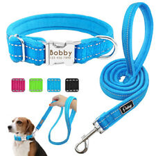 Reflective Dog Collar and Leash Personalized ID Name Tags Engraved Fleece Padded