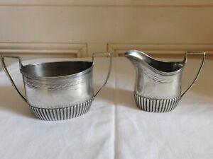 Edwards & Sons London belle suite de crémier et sucrier métal argenté 1928