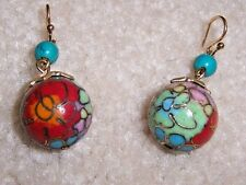 NEW EXTASIA MULTI COLOR FLORAL W/ GOLD OUTLINE CLOISONNE BEAD DROP EARRINGS