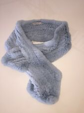Trilogy Collection Rabbit Knitted Fur Collar Stole Wrap Light Blue
