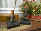 Primitive BLACK Chippy Tapered Candleholders Rustic Wooden PAIR Country