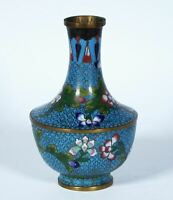 Antique Chinese Cloisonne Vase With Vines Flowers Turquoise Ground Unusual Form