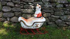 Vintage Santa On Sleigh, Electric Lighted Lawn Decor w/ Cord Christmas Lawn