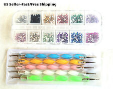 3000pcs 12-Colors 2mm Round Rhinestones & 5pcs 2-Way Dotting Pens Nail Art Tools