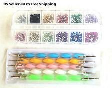 3000pcs 12-Colors 2mm Round Rhinestones & 5pcs 2-Way Dotting Pens Nail Art Tools