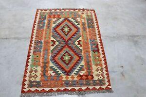 Afghan Kundoz Genuine Handmade Tribal Nomad Multi Colour Wool Kilim Rug 90x125cm