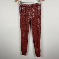 Unbranded Womens Velvet Pants M/L Petite Pink Elastic Waist Skinny Pockets