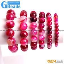 "Handmade Stripe Onyx Agate Gemstone Beaded Stretchy Bracelet 7"" Free Shipping"