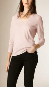 Burberry nude pink knit vneck sweater