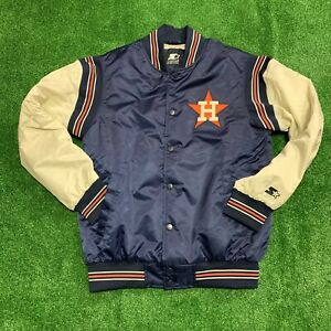 Houston Astros Starter Black Label Satin Jacket Sewn Embroidered Men Medium New