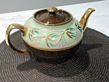 Sadler Staffordshire Brown Teapot Green W/ Roses & Gilt Accents Green & Pink