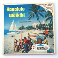 Vintage View-Master 3-Reel Set Packet A123 HONOLULU & WAIKIKI Oahu Hawaii