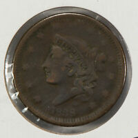 1838 1c Coronet Head Large Cent SKU-Y2575