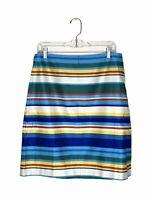 Talbots Striped Cotton Pencil Skirt Sz 10 P Petite Blue Green Yellow Red