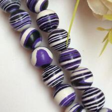 Natural 12mm Purple Turkey Turquoise Gemstone Round Loose Bead 15''AAA
