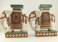 Bombay White Elephants Ceramic Oriental Bookends Home Decor Handpainted