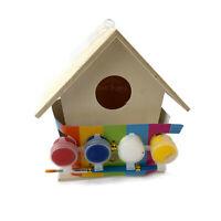 Kids Fun Play Paint Your Own Wood Birdhouse Garden Nesting Box Art Craft Set Kit