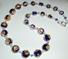 Sparkling Purple Yellow and White Gold Murano Glass Necklace