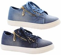Ladies Womens Flats Lace Up Casual Funky Denim Sneaker Pumps Trainers Shoes Size