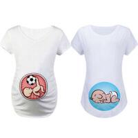 Women Pregnancy Maternity Short Sleeve Cartoon Baby Print Top T Shirt Blouse Tee