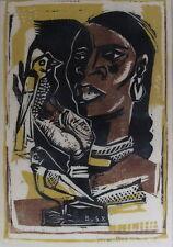 Wim bosma 1902-1985, señora con dos pájaros, linolschnitt, fechado 1958