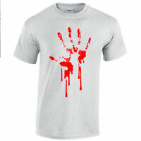 Blood Hand Print T-Shirt Screenprinted Dripping Zombie apocalypse horror bloody