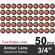 """50X Mini 12V Amber 3/4"""" Round Side 3 LED Marker Clearance Trailer Bullet Light"""