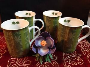 "A Set of 4 Konitz 10 oz Mugs 'First Flush Tea' Green - ""Teaceremony"" So COOL!!!"
