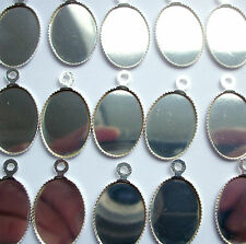 10 Silver Plated Cabochon/Cameo Settings fits 18 x 13mm