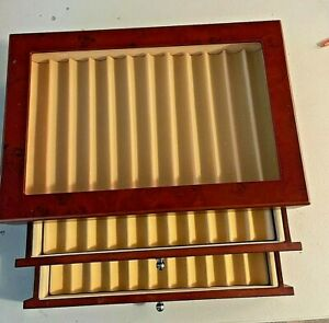 """New Fountain Roller Ball Pen Wooden Display Case Holds 34 pens.  8 X12 X 5"""""""