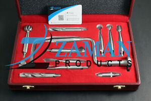 Hudson Hand Drill Brace Surgical Orthopedic 11 Pcs Instruments Set With Box