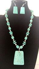 Stylish Design Square Shape Turquoise  Pendant Silver Bead Necklace Set