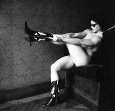 Helmut Newton Nude of Lisa Lyon Putting on Cowboy Boots, Paris 1980