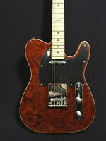 Haze 19181 M926 Thru Solid Body Electric Guitar, S-S w/Dark-Brown Rose Top +Bag