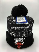 Adidas Chicago Bulls Black City Lights Rising Stars Beanie Knit Hat With Pom