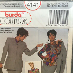 Womens Power Suit Size 12 14 16 18 20 22 Vtg Sewing Pattern Burda Couture 4141