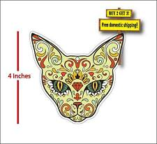 Animal Cat Sugar Skull Dia De Los Muertos Day of the Dead Decal Sticker