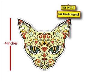 "Animal Cat Sugar Skull Dia De Los Muertos Day of the Dead 4""Decal Sticker dod27"