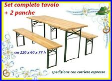 Set birreria legno tavolo + 2 panche panchina 220x60xh77 cm richiudibile 124775