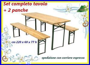 Set birreria legno, tavolo e 2 panche-panchina 220x60xh77 cm richiudibile 124775