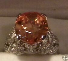 BEAUTIFUL CHAMPAGNE COLORED CZ & STERLING 10CT RING