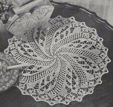 Pattern to Make Vintage Knitted Lace Doily Centerpiece Mat Pinwheel Swirl Design