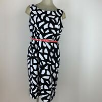 Jones New York woman's dress black white pattern sleeveless size 10 belted